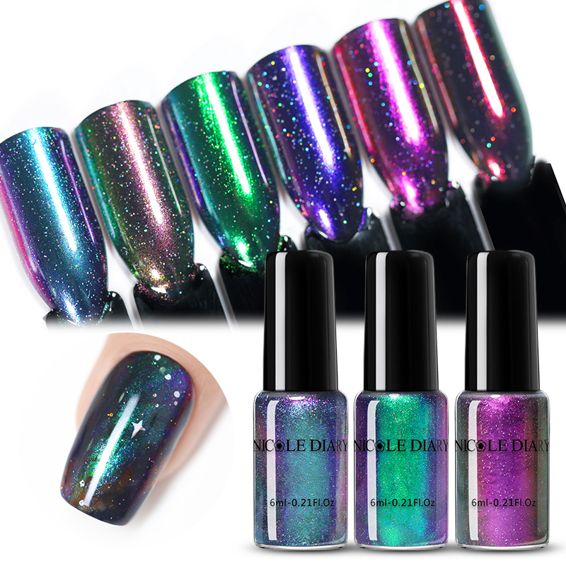 NICOLE DIARY Nail Polish Chameleonic  Glitter Pearl Nail Art Varnish Water-based  Nail Art Varnish 6