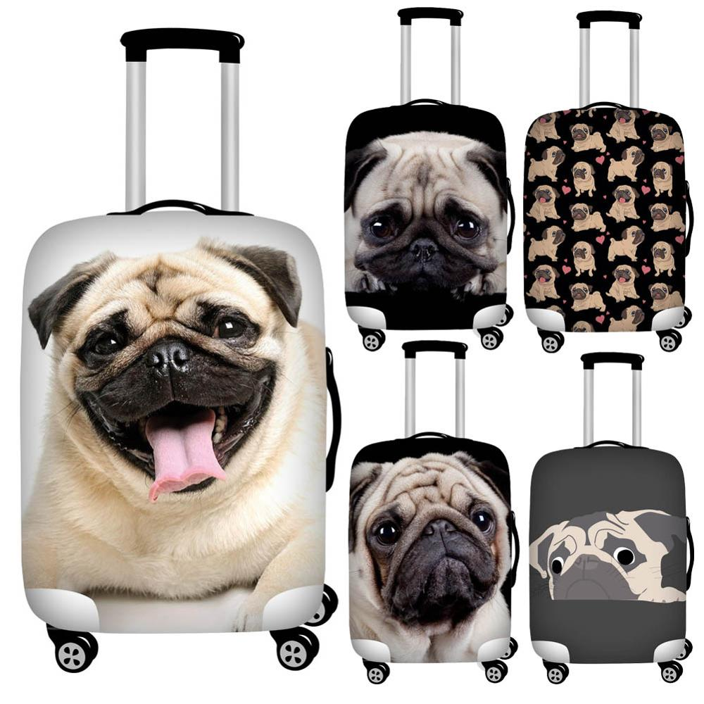 3d Puppy Pug Dog Print Luggage Protective Dust Cover Waterproof 18-32inch Suitcase Cover Baggage Rain Cover Stretchable