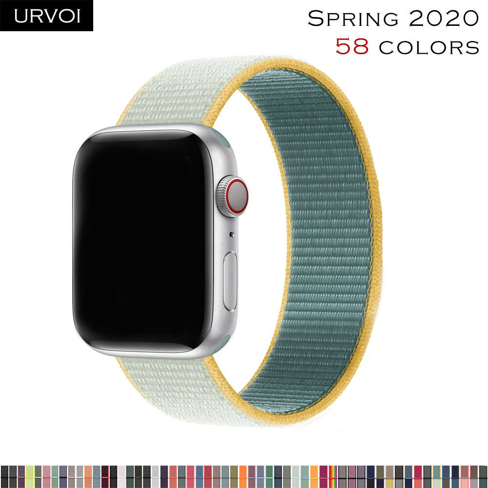 URVOI Sport loop per apple watch 5 4 3 2 banda cinghia riflettente per iWatch fascia doppio-strato HOOk & LOOP 2020 primavera