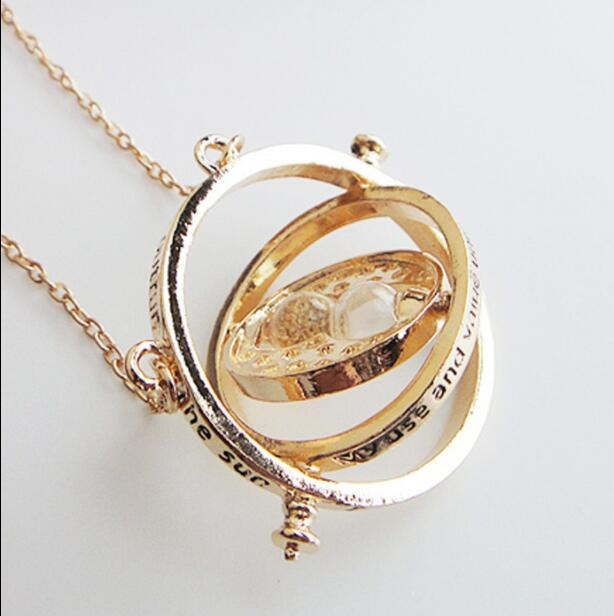 Harri Potter Movie Time Turner Hourglass Necklace Six Phalanx Magic WandS Keychain Pendant Metal Figure Toy Key Ring Necklace