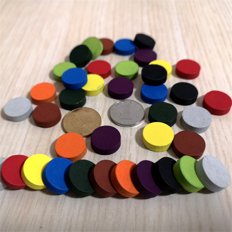 50pieces Diameter 15*5MM 10 Colors Wooden Pawn Game Pieces Colorful Chess For Tokens Board Game/Educational Games Accessories