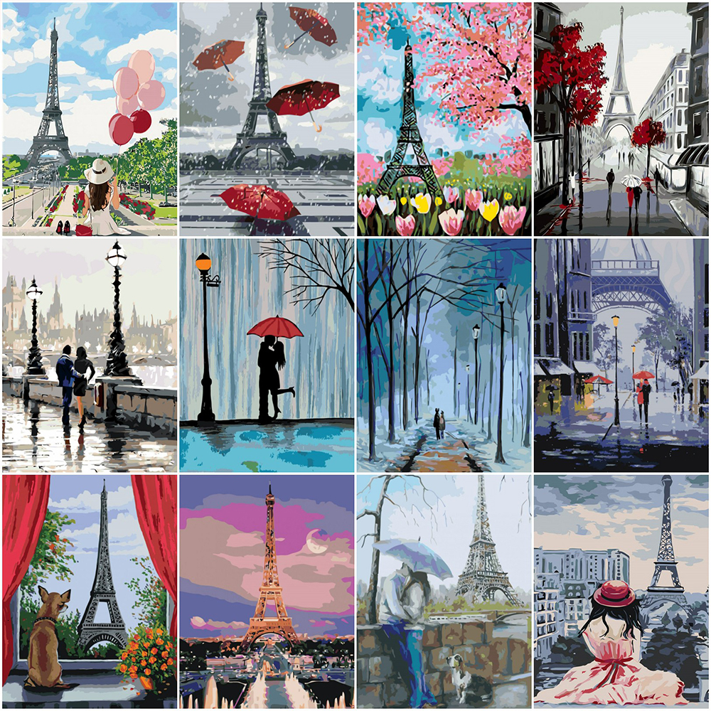 HUACAN Oil Painting By Number Tower Scenery HandPainted Kits Drawing Canvas Pictures DIY Home Decoration Coloring Numbers Gift