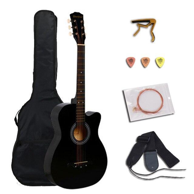 38 pouces guitare acoustique pour débutants ensembles de guitare avec Capo pics 6 cordes guitare Basswood 13 couleurs Instruments de musique AGT166