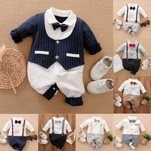 Malapina Newborn Baby Rompers Baby Boy Clothes Jumpsuit Overalls Infant Cotton Outfit with Bow Tie Baby Girl Toddler Costume