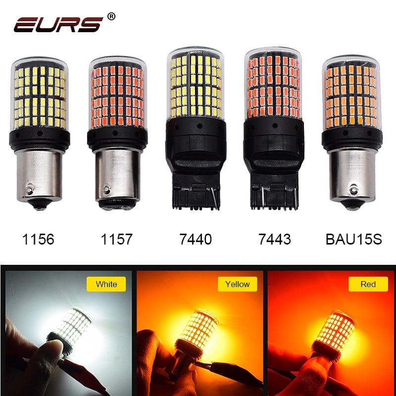 1pcs 3014 144smd Canbus S25 1156 P21W BA15S LED BAY15D BAU15S PY21W T20 LED 7440 W21W 1157 Led Bulbs Lamp For Turn Signal Light
