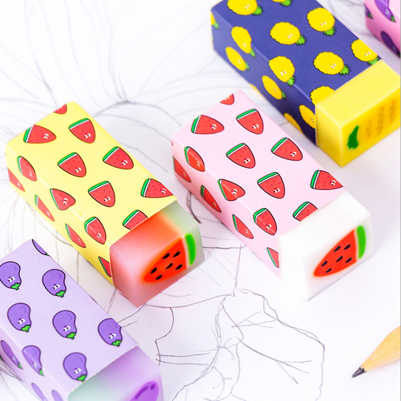 18pcs/lot Cute Fruit Watermelon Pineapple Crystal Eraser Rubber Students Stationery Kids Gifts School Office Correction Supplies