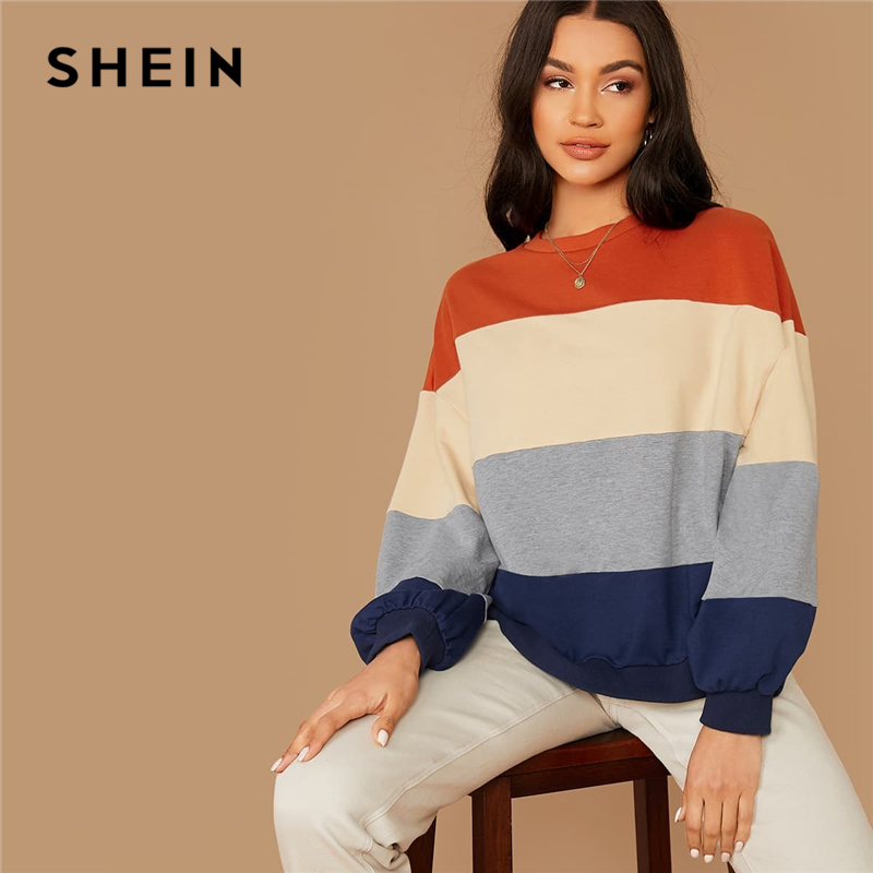 SHEIN Colorblock Striped Casual Autumn Sweatshirts Women Tops Winter Round Neck Bishop Sleeve Multicolor Basic Ldies Sweatshirts