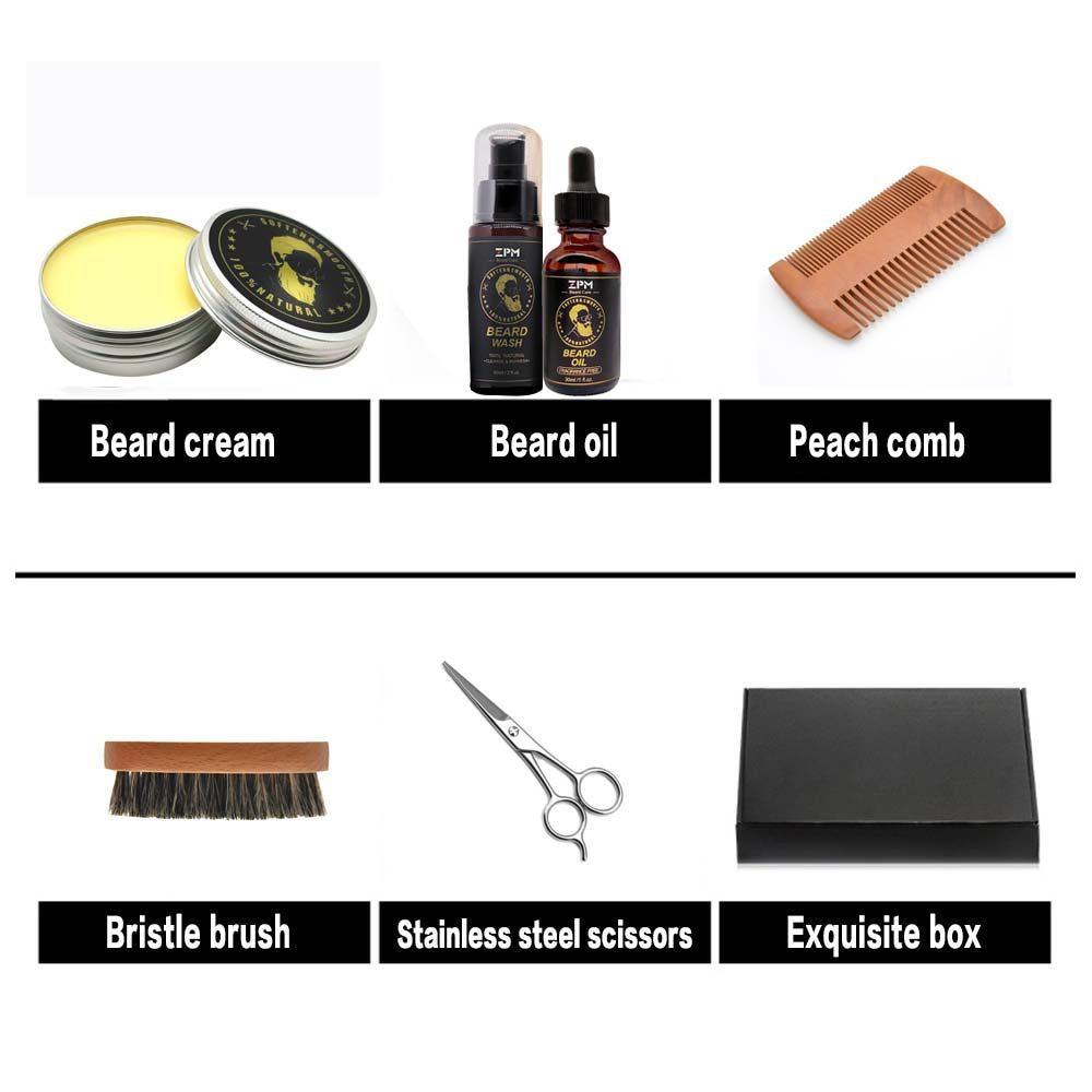 Beard Grooming Care Kit Beard oil Cream Shampoo Peach Comb Bristle Brush Stainless Steel Scissors Gifts for Men Husband in Shaving Brush from Beauty Health