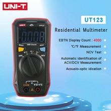 Mini multímetro Digital UT123 con rango automático, retención de datos, CA, CC, voltios, Ohm, temperatura NCV/probador de continuidad, pantalla EBTN, Unidad de UNI-T
