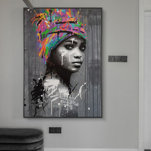 art African Woman Canvas Art Paintings on the Wall Art Posters And Prints Graffiti Art Abstract Black Woman Art Pictures Home Decor
