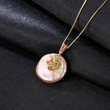S925 Silver Necklace Micro-inlaid 3A Zircon Natural Baroque Pearl Pendant for Foreign Trade Direct Sale Jewelry