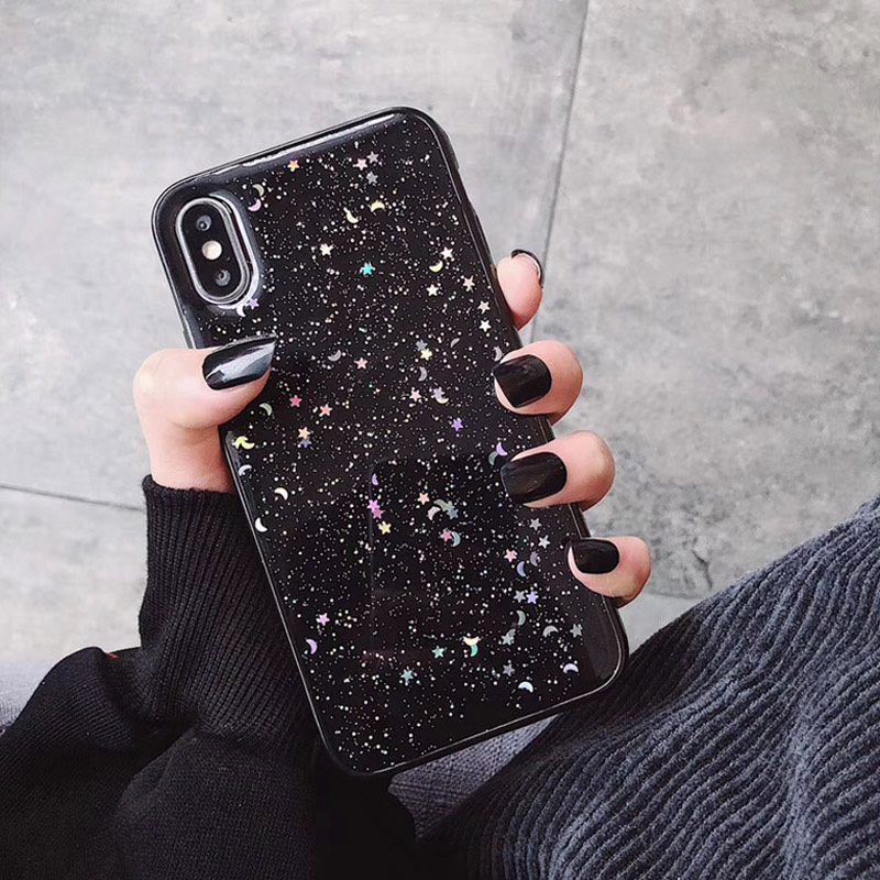 Hdc007d9f6871409684421f153ccde462Q - GIMFUN Star Bling Glitter Phone Case for Iphone 11 Pro Max Clear Back Love Heart tpu Case Cover for Iphone Xr X 7 6 8 Plus 5s SE