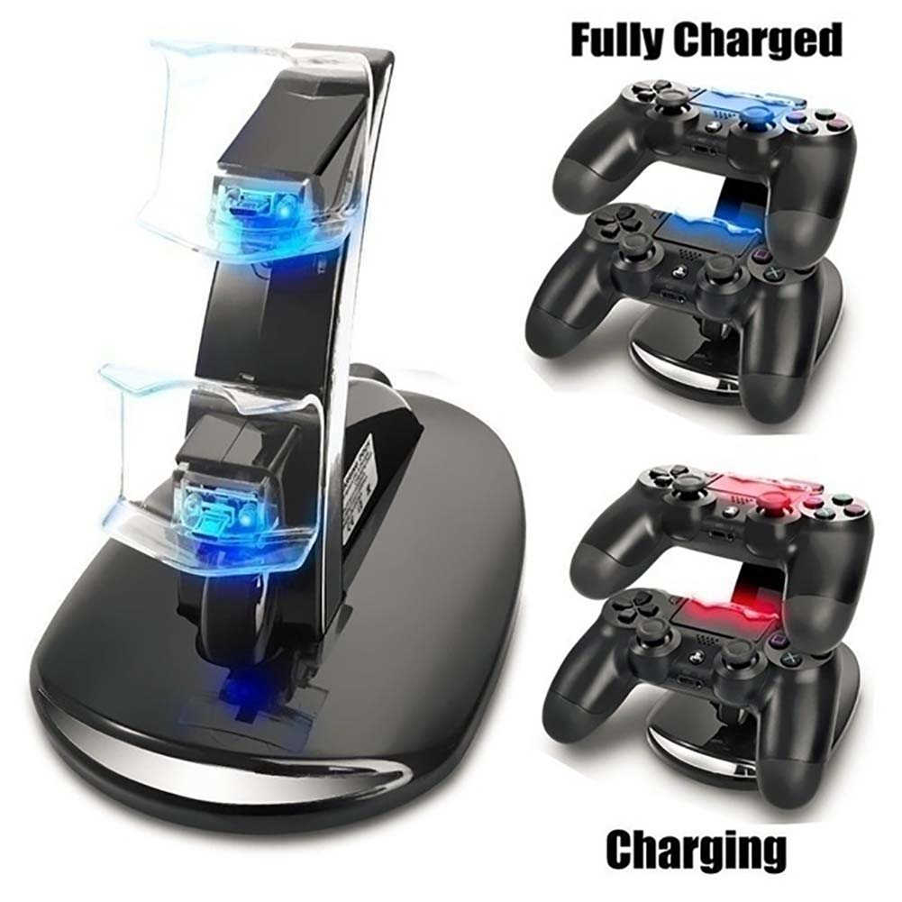 Dual USB Pengisian Charger Dock Stand LED Cradle Docking Station untuk PlayStation 4 PS4 Permainan Game Konsol Controller
