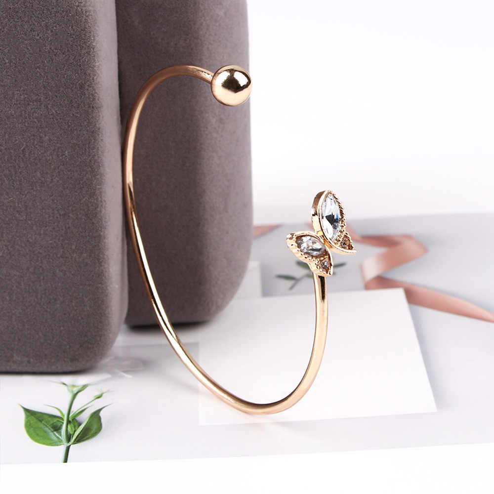 Élégant femmes or ouvert Bracelet mode haute qualité cristal papillon Bracelet Bracelet accessoires de fête de mariage cadeau chaud