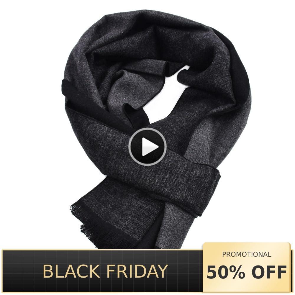 2019 Winter Mens shawls   Scarves   Designer   Wrap   Thick Long soft Warm black Striped Viscose blanket cashmere   Scarf   men business