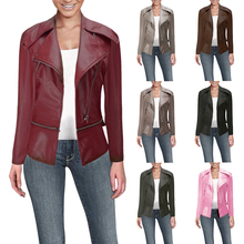 купить 2019 Women's PU Leather Jacket Coat Zip Up Slim Fit Motorcycle Outerwear Short Casual Tops Outfit Ladies Flight Turn-down Collar дешево