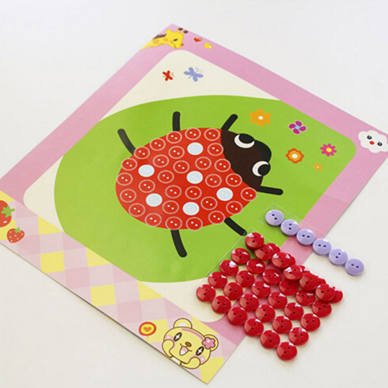 1pc Random Children Craft Toys Button Puzzle Stickers Handmade Kids DIY Toys Gift