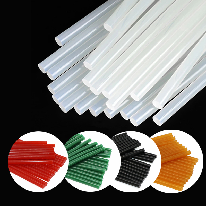 Hot Melt Glue Sticks Transparent Black Green Hot Glue Stick 7mm-11mm High Adhesion For Glue Gun Colorful Glue Sticks
