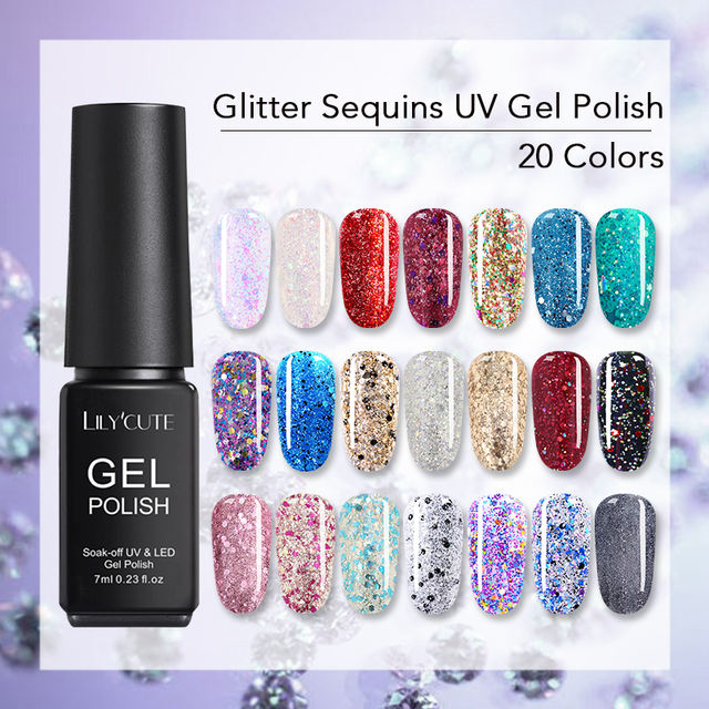 LILYCUTE Colorful Glitter Sequins UV Gel Nail Polish