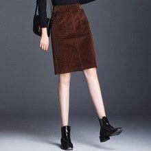 Corduroy pencil skirt large size female loose skirt elastic