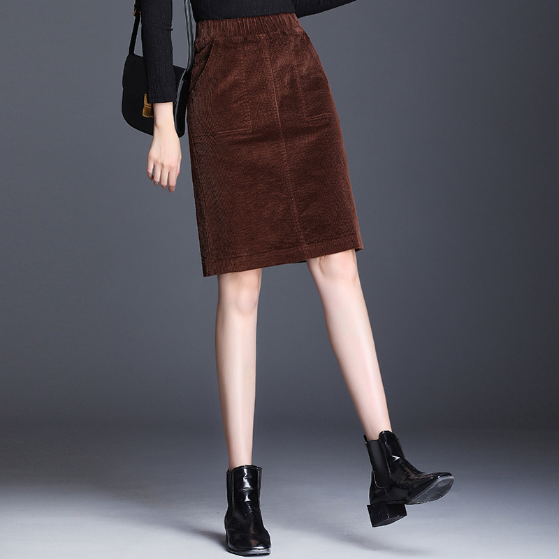 Corduroy Pencil Skirt Large Size Female Loose Skirt Elastic Waist Casual Bottom Retro Wild Color Women's Bag Skirt