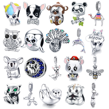 charms BISAER 925 Sterling Silver Cat Owl Mouse Beads Animal Unicorn Charms Fit For Original Jewelry Making