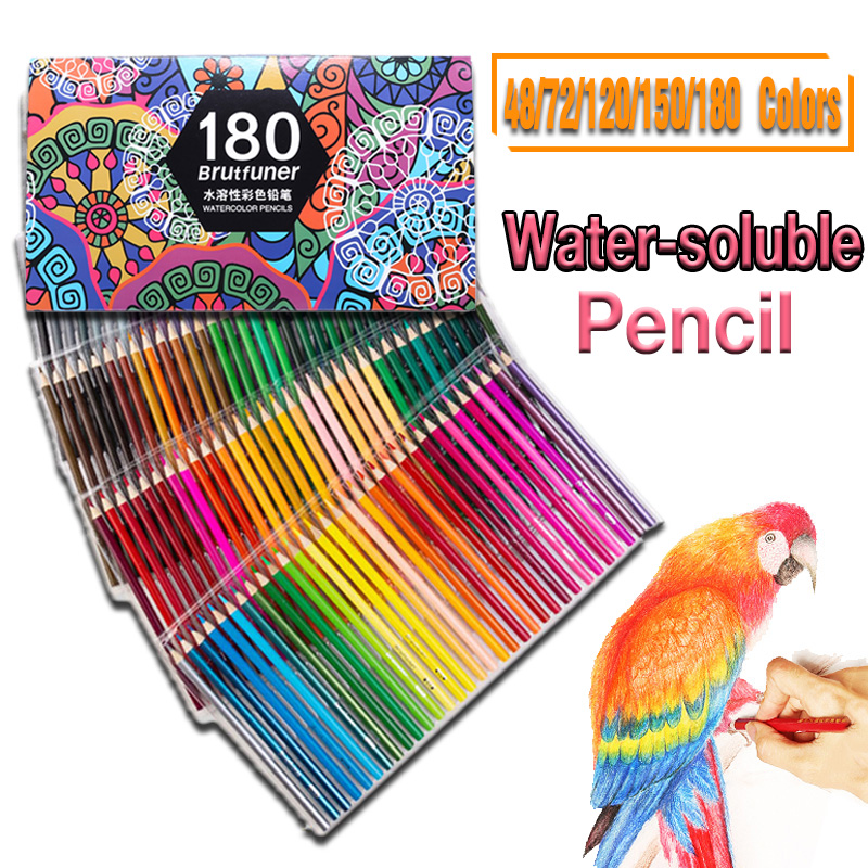 48/72/120/150/180 Colors Water Solubility Artist Colored Pencils Set For Drawing Sketch Coloring Books School Art Supplie