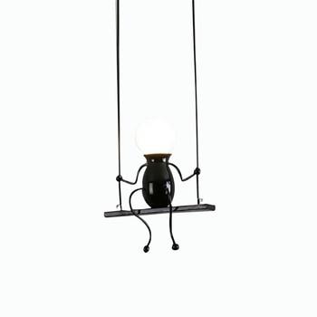 E27 bulbs Simple iron chandeliers creative personality corridor study room restaurant lamp villain children's lamp black white