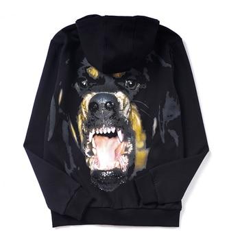 2019 Men's Casual Sweatshirt Hoodie Men Loose Hip Hop Pullover Male Long sleeve Streetwear Hoodies bluza back Rottweiler printed