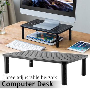 Monitor Stand Riser 3 Height Adjustable Stand Desktop with Mesh Platform for Laptop Computer @M23