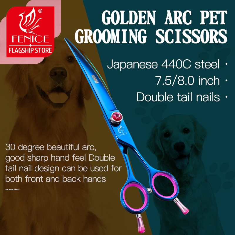 Fenice Professional Japan 440c 7.5 8.0 inch pet scissors dog Grooming Blue Curved Shears