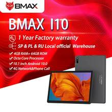 Bmax i10 10.1'' Tablet 1920x1080 IPS 4GB RAM 64GB ROM 4G Network Dual SIM Octa Core Tablets PC Android 10 Dual Wifi Type-C