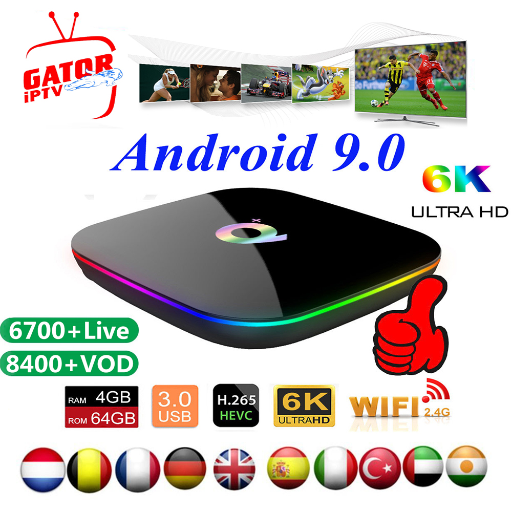 Q Plus Smart TV Box With 1 Year IPTV Subscription Code 6K Full HD 3D Media Player Europe IPTV Android 9.0 Set Top Box Abonnement