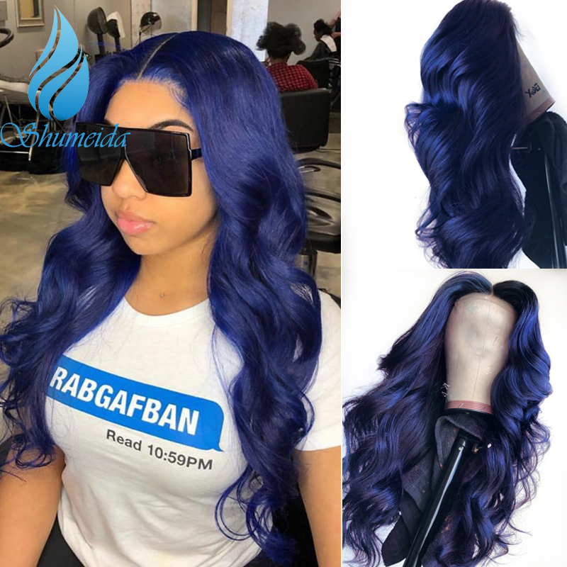 SHD Dark Blue Lace Front Wigs with Pre Plucked Hairline Brazilian Body Wave Lace Frontal Wig with Baby Hair Remy Human Hair