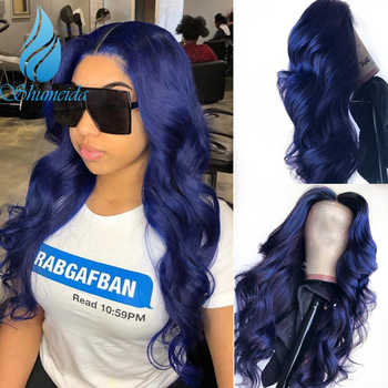 SHD Dark Blue Lace Front Wigs with Pre Plucked Hairline Brazilian Body Wave Lace Frontal Wig with Baby Hair Remy Human Hair - DISCOUNT ITEM  30% OFF All Category