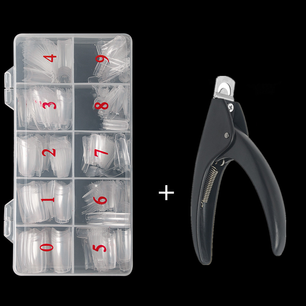 Half Cover False Nails Tips, 500pcs Acrylic Fake Nail Manicure Sets, French Style Artificial Nails with Designs For Nail Art 15