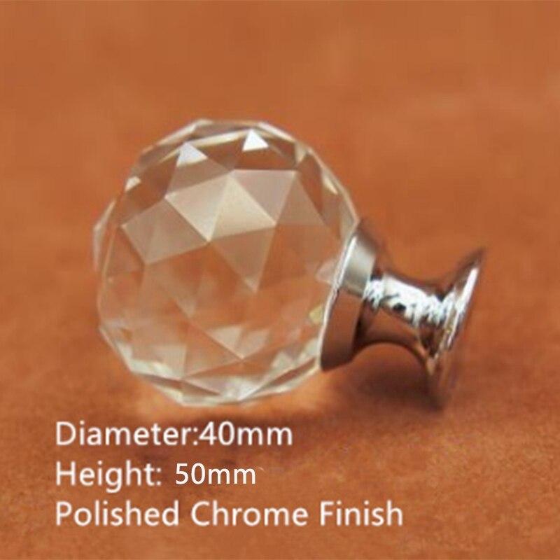 10 pièces 40Mm diamant forme conception cristal verre boutons placard tiroir tirer armoires de cuisine porte commode armoire poignées matériel