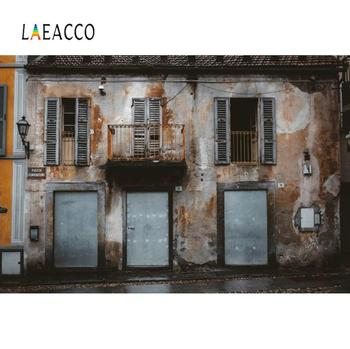 Laeacco Old Vintage Deserted Rural House Exterior Porch Door Window Scene Photography Background Photo Backdrop For Photo Studio laeacco happy easter day flags chick haystack brick wall home decor scene photography backdrop photo background for photo studio