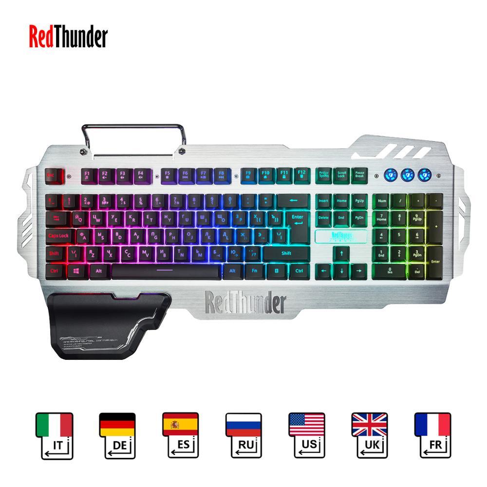 Redthunder k900 rgb backlight wired gaming keyboard 25 teclas anti-ghosting teclado ergonomia para jogos de mesa e digitação