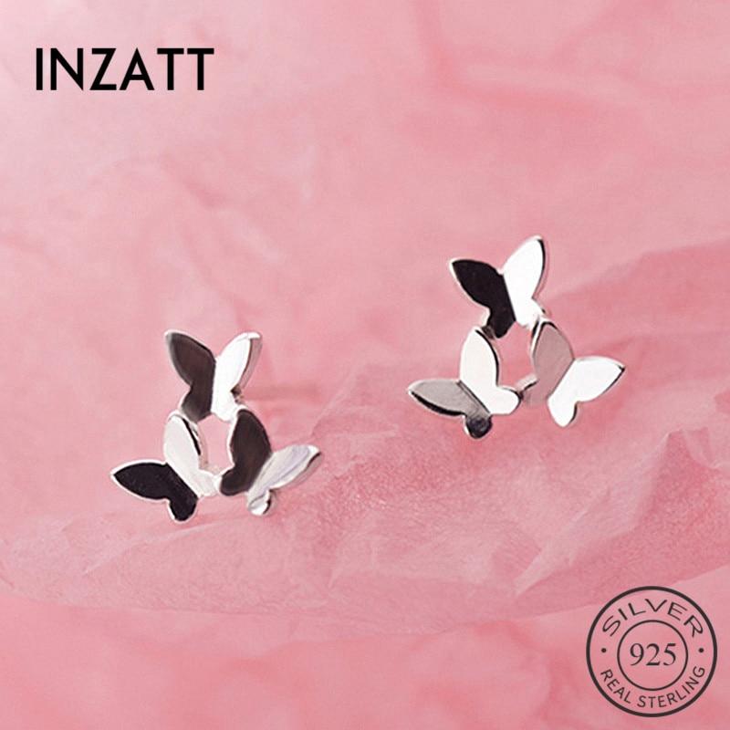 INZATT Real 925 Sterling Silver Three  Butterfly Stud Earrings For Fashion Woman Cute Fine Jewelry MInimalist Accessories