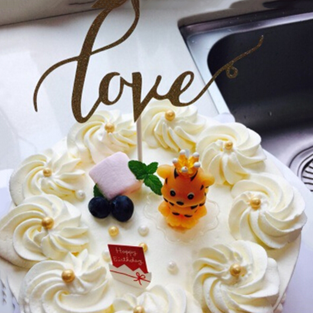 Lovely Wedding Cake Topper Love Bing Gold Wedding Cake Topper Fast Shipping Birthday Cake Toppers Party Cake Decorationsr Cake Decorating Supplies Aliexpress