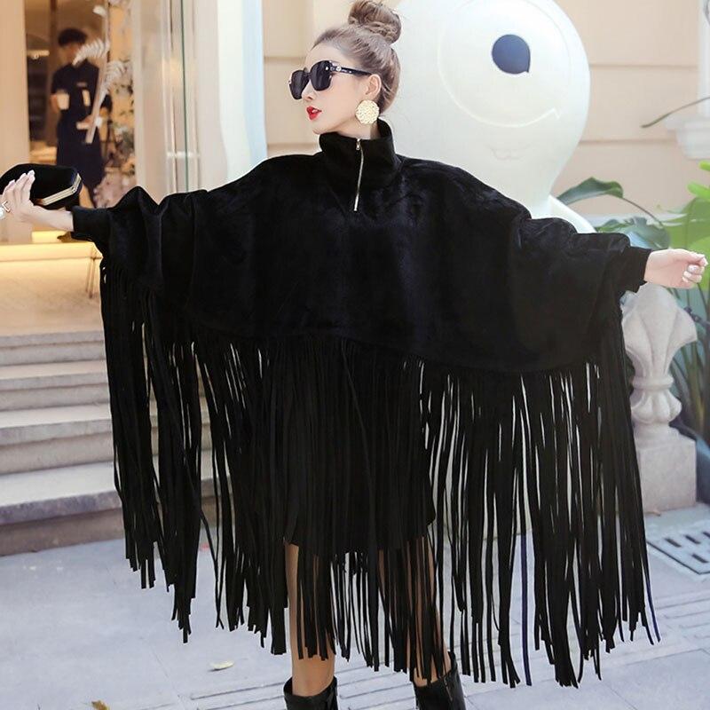 Новинка 2020, Весенняя женская куртка, свободная, с кисточками, водолазка, длинный рукав, женская накидка, пальто, модное, Осень-зима, размера п...