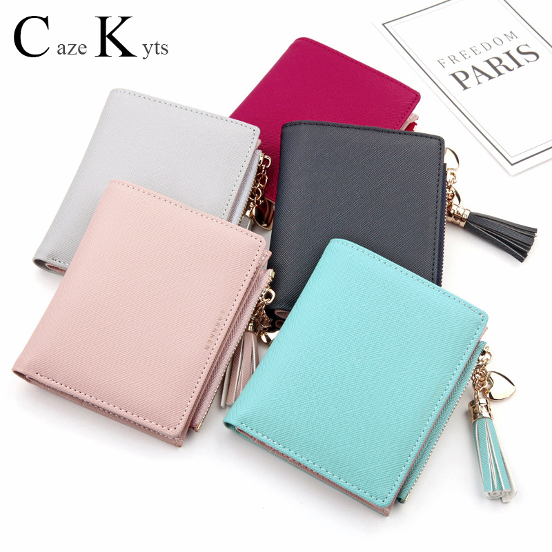 Ladies Cute Small Leather Multi-function Short Wallet Mini Trend Fashion Student Coin Purse Credit Card Clutch Bag Free Shipping