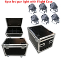 フライトケース 6 個 led パー光 18x18 ワット 6in1 rgbwa + uv DJ パー缶 dmx 512 dmx ストロボウォッシュ照明舞台照明効果
