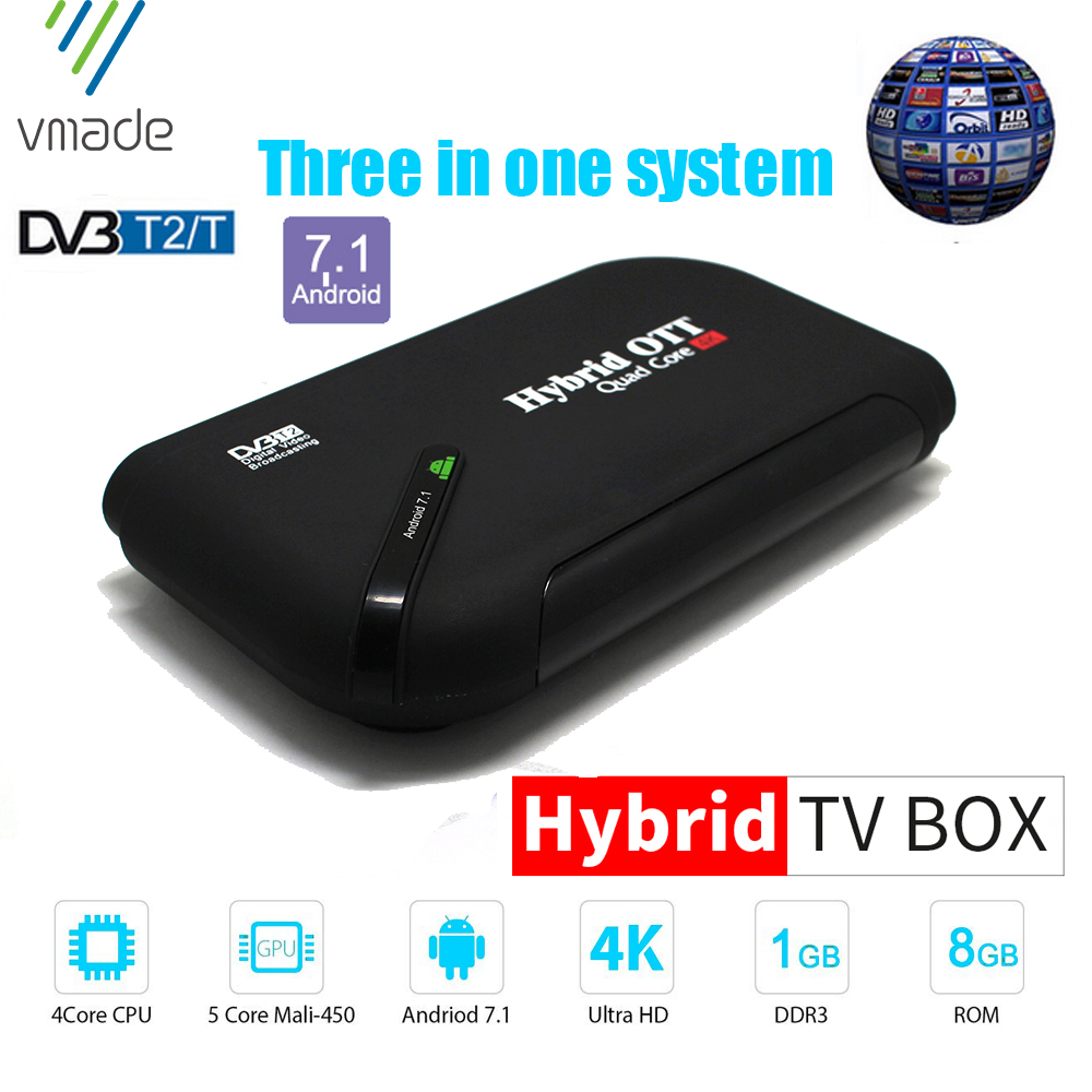 Vmde Original Android 7.1 TV Box DVB T2 DVB C 1G/8G Smart Media Player Amlogic S905D Octa Core KII Wifi 4K Combo Set Top BOX