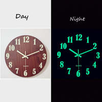 Luminous Wall Clock, 12 Inch Wooden Silent Non-Ticking Kitchen WallClocks With Night Lights