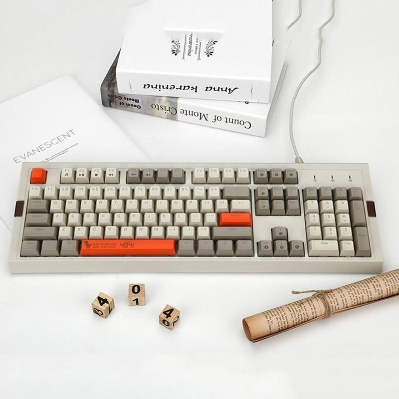 AK510 104 Keys Gaming Mechanical Keyboard RGB Retro Gaming Keyboard Black/Blue/Brown Switch Backlight Wired Gaming Keyboard