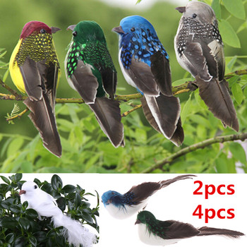 2pcs / 4pcs 3D Fake Craft Birds Artificial Foam Feathers Birds Birthday Party Decorations Home Garden Wedding Decoration 1