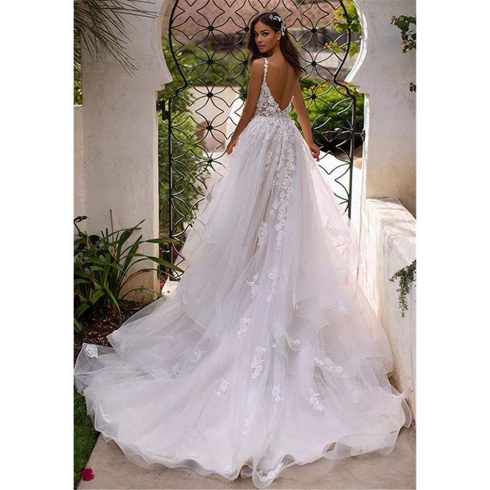 Long Boho A-Line Backless Wedding Dress  2