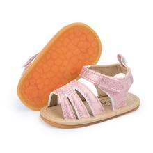 Newborn Baby Girl Sandals Outdoor Hook-Loop Flat Rubber Sole Anti-slip Toddler First Walkers Cute Summer Crib Shoes 0-18M
